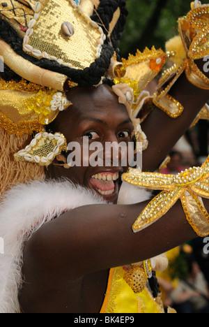 Brazilian Samba dancer at the Karneval der Kulturen, Carnival of Cultures, Berlin, Kreuzberg district, Germany, - Stock Photo