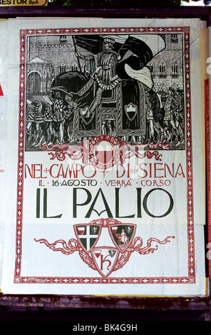 Poster for Il Palio, Siena, Italy - Stock Photo