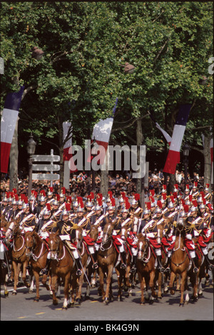 Republican Guards on the Champs Elysees during Bastille Day, Paris - Stock Photo