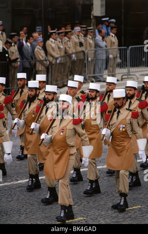 French Foreign Legion wearing the Sappers ('pionniers') uniform in the Bastille Day Parade, Paris - Stock Photo