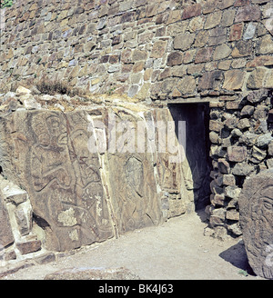 Building of Danzantes showing Tableros of Dancers from Sculptural Program at pre-Columbian site of Monte Alban in - Stock Photo