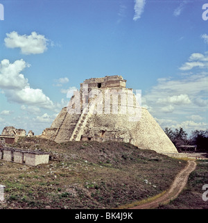Pyramid of the Magician at Uxmal, Mexico - Stock Photo