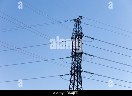 Finnish High-Voltage powerline pylon - Stock Photo