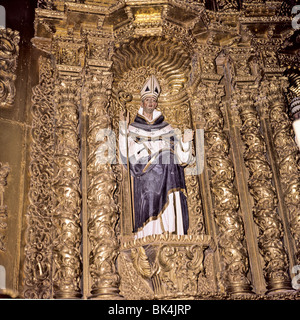 Detail of the main altar in the Church of Santo Domingo, Puebla, Mexico - Stock Photo