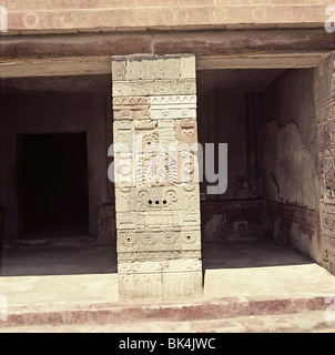 Architectural detail of relief sculpture at Quetzalpapalotl Palace Teotihuacan Archaeological Site Mexico ñ Carved - Stock Photo