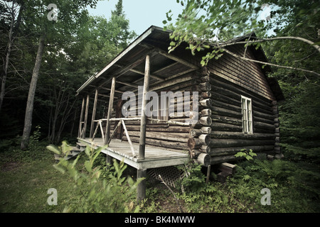 Old log cabin in the forest. - Stock Photo
