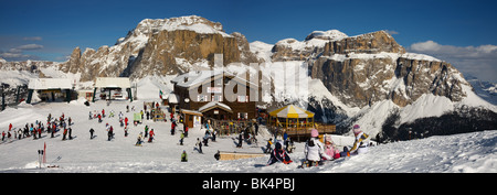 panoramic image of Dolomites mountains in winter, Italy, view of Gruppo Sella from Col Rodella ski area, Sella Ronda - Stock Photo