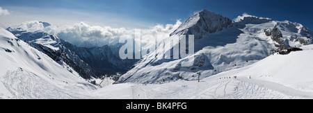 panoramic image of Dolomites mountains in winter, Italy, Marmolada glacier - Stock Photo