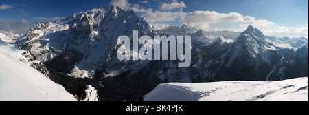 panoramic image of the Marmolada in Dolomites mountains in winter, Italy, - Stock Photo