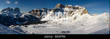 panoramic image of Dolomites mountains in winter, Italy, Belvedere ski area with view over the Gruppo Sella and - Stock Photo