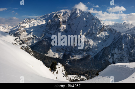 panoramic image of Dolomites mountains in winter, Italy, - Stock Photo