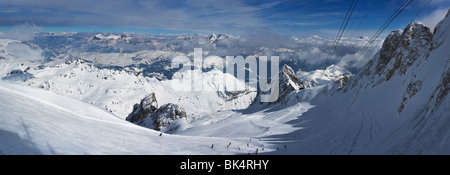 panoramic image of Dolomites mountains in winter, Italy, from the Marmolada glacier towards N-E, - Stock Photo
