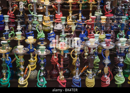 Hookah or hubble bubble pipes for sale in a souk, Dubai, United Arab Emirates, Middle East - Stock Photo