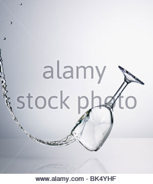 Water spilling from falling glass - Stock Photo