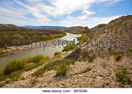 View of the Rio Grande River near Hot Springs in Big Bend National Park. International Border between United States - Stock Photo