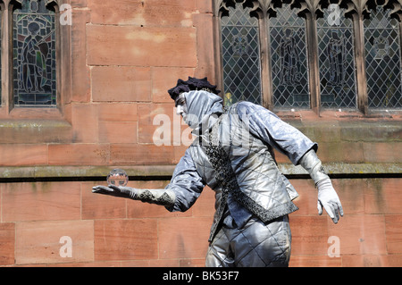 Silver man mime artist Chester Cheshire England UK GB - Stock Photo