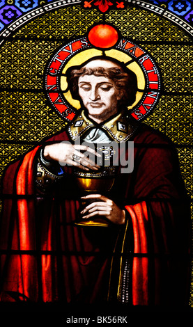 Stained glass window of St. Martin in Saint-Ambroise church,  Paris, France, Europe - Stock Photo