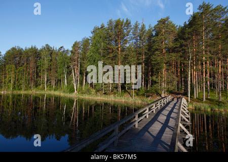 Footbridge over Lake Puruvesi, Punkaharju Nature Reserve, Saimaa Lake District, Savonia, Finland, Scandinavia, Europe - Stock Photo