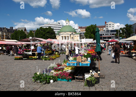 Stalls in Kauppatori Square (Market Square), Turku, Western Finland, Finland, Scandinavia, Europe - Stock Photo