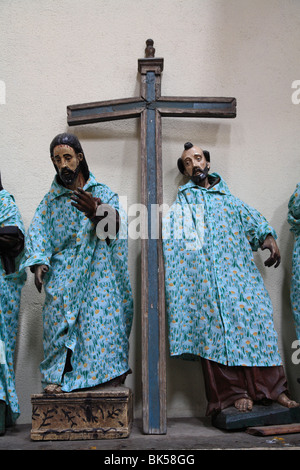 Saints dressed in handmade clothes in church, Santiago Atitlan, Lake Atitlan, Guatemala, Central America - Stock Photo