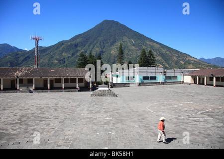 Church Courtyard, Santiago Atitlan, Lake Atitlan, Guatemala, Central America - Stock Photo