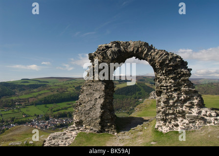 Ruins of Dinas Bran Castle and village of Llangollen below, Denbighshire, Wales, United Kingdom, Europe - Stock Photo