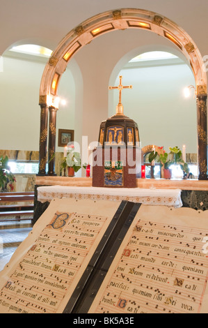 Interior, Church of the Beatitudes, Galilee, Israel, Middle East - Stock Photo