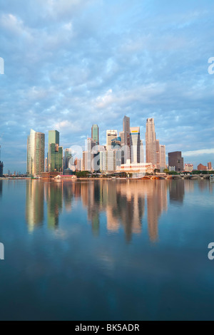 Skyline and Financial district at dawn, Singapore, Southeast Asia, Asia - Stock Photo