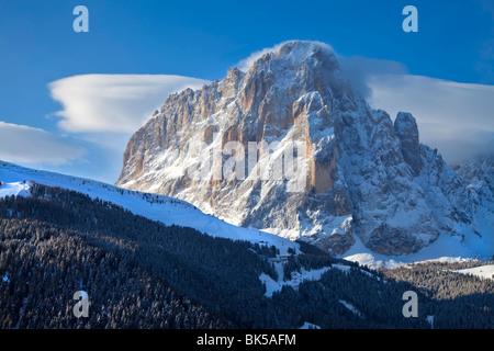 Sassolungo mountain, 3181m, Val Gardena, Dolomites, South Tirol, Trentino-Alto Adige, Italy, Europe - Stock Photo