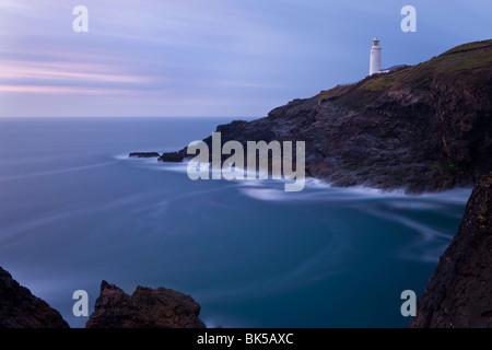 Trevose Lighthouse at dusk, Trevose Head, near Padstow, North Cornwall, England, United Kingdom, Europe - Stock Photo