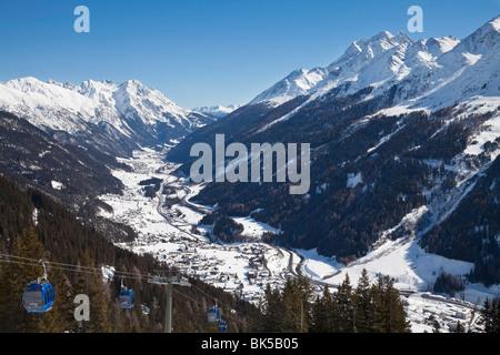 View over St. Jakob from the slopes of the ski resort of St Anton, St. Anton am Arlberg, Tirol, Austrian Alps, Austria, - Stock Photo