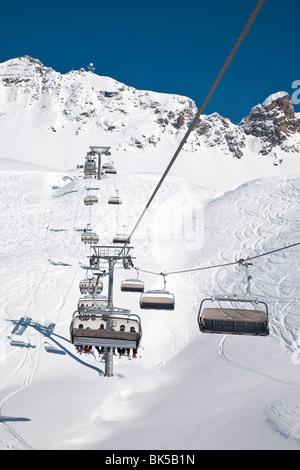 Resort pistes and chairlift, St. Anton am Arlberg, Tirol, Austrian Alps, Austria, Europe - Stock Photo