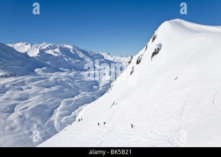Europe, Austria, Tirol. St. Anton am Arlberg, resort pistes and mountain ranges - Stock Photo