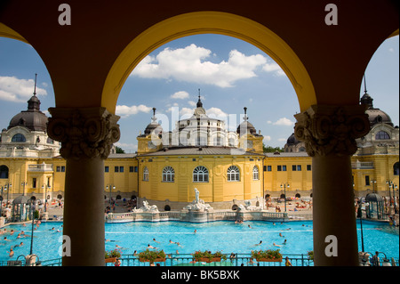 The Szechenyi Baths on a summer day in Budapest, Hungary, Europe - Stock Photo
