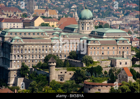 An aerial view of the Royal Palace on Castle Hill from Gellert Hill, Budapest, Hungary, Europe - Stock Photo