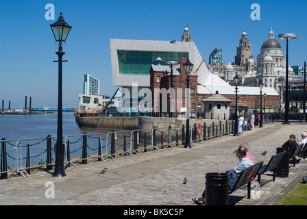 View from Albert Dock, towards the new Museum of Liverpool and the Three Graces, Liverpool, Merseyside, England, - Stock Photo