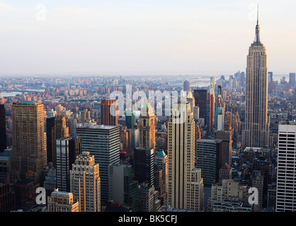Empire State Building and Manhattan cityscape in late afternoon light, New York City, New York, United States of - Stock Photo