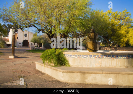 Courtyard and fountain, St. Philip's in the Hills Church, Tucson, Pima County, Arizona, United States of America, - Stock Photo