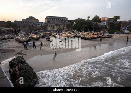 Fishing boats on the beach in Accra, Ghana, West Africa, Africa - Stock Photo