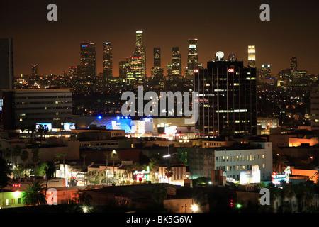 City at night, Los Angeles, California, United States of America, North America - Stock Photo