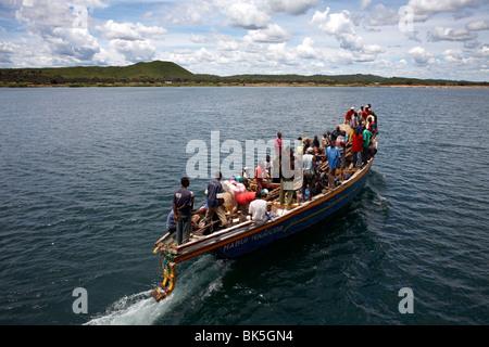 A boat on Lake Tanganyika, Tanzania, East Africa, Africa - Stock Photo