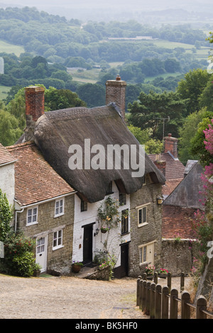 Gold Hill in June, Shaftesbury, Dorset, England, United Kingdom, Europe - Stock Photo