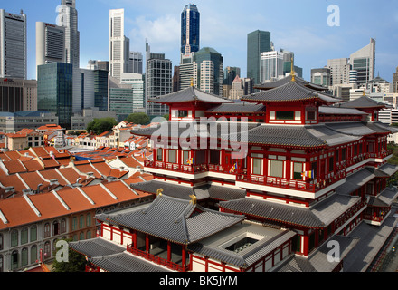 View of Chinatown with The Buddha Tooth Relic Temple, Singapore, Southeast Asia, Asia