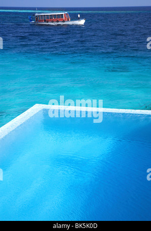 Pool at the Escape Water Villa at Coco Palm Bodu Hithi, the Maldives, Indian Ocean, Asia - Stock Photo