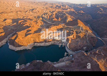 View from plane over the Hoover Dam, Colorado USA - Stock Photo