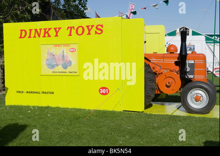 A vintage tractor on show as a boxed dinky toy at the Great Yorkshire Show. - Stock Photo