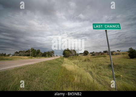 Town Sign Last Chance, Colorado 80757 USA, at the intersection of U.S. Highway 36 and State Highway 71. - Stock Photo