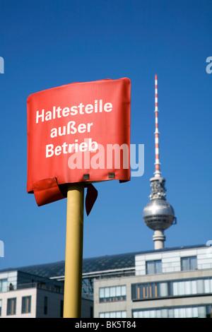Bus Stop Sign ( Not in Service) Near Alexander Platz Berlin Germany