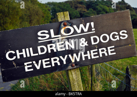 Slow! Children and dogs everywhere sign in Bleasdale, Lancashire, England - Stock Photo
