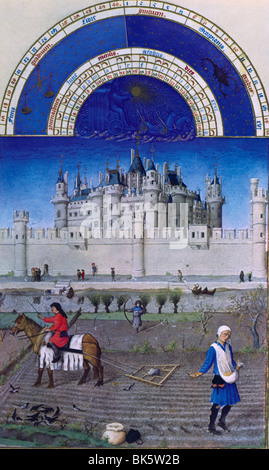 Autumn at the Seine River, Louvre In Background, by Limbourg Brothers, 15th Century, 1385-1416 - Stock Photo